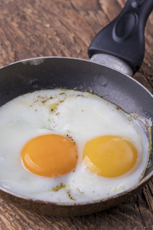 closeup of a egg in a pan