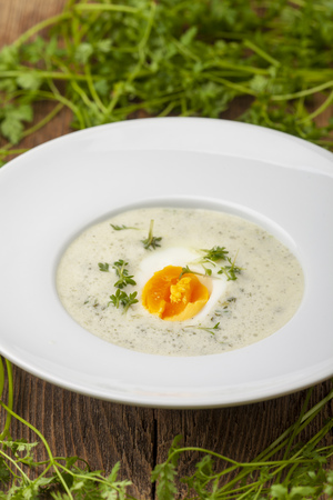 fresh chervil soup in a bowl on wood Stock Photo