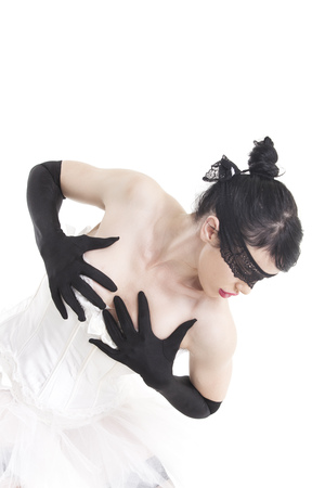 ballet dancer with hand gloves on white