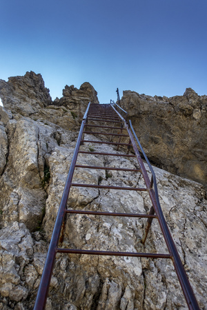 steel ladder on the via ferrata Mittenwald Stock Photo