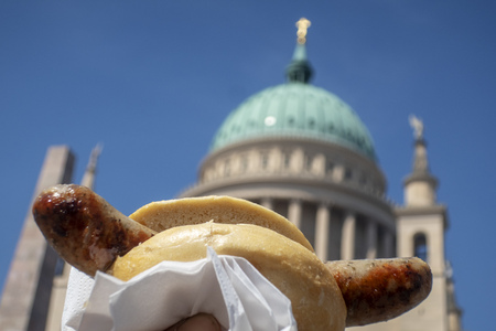 bratwurst and the Nikolai curch in Potsdam
