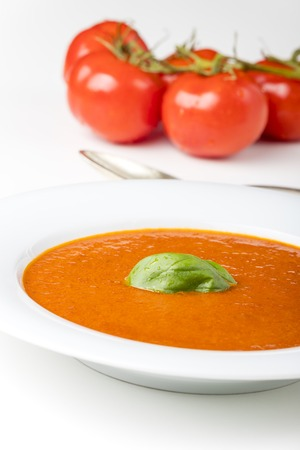 fresh tomato soup in a bowl Stock Photo