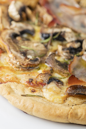rustic home made mushroom pizza  Stock Photo