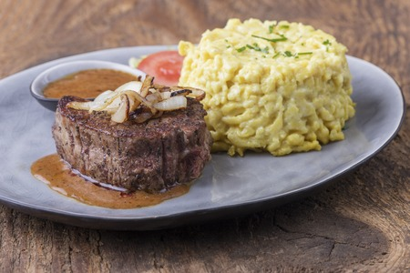austrian onion steak with spaetzle