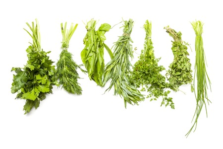 various fresh spices on white background