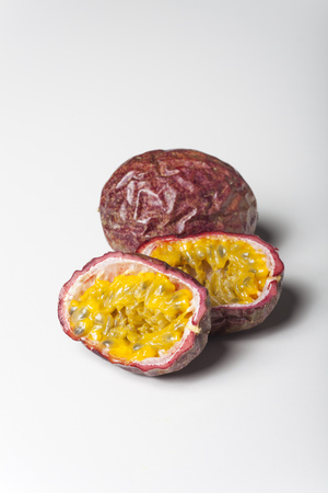 passion fruits on white background Stock Photo