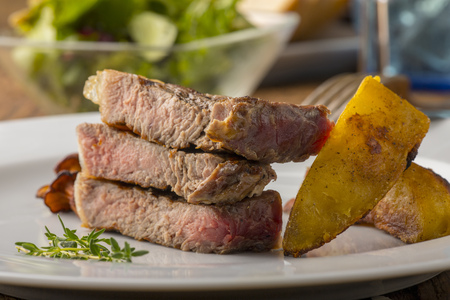grilled steak with white asparagus Stock Photo