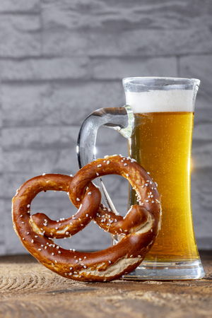 bavarian beer and pretzel