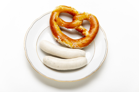 overview of two bavarian white sausages