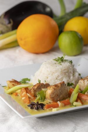closeup of a thai curry with rice Zdjęcie Seryjne