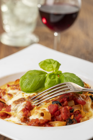 italian tagliatella pasta with tomato sauce Stock Photo