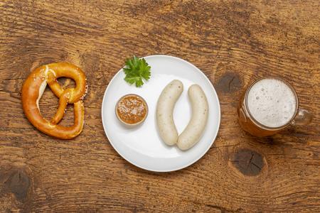 bavarian white sausage with pretzel