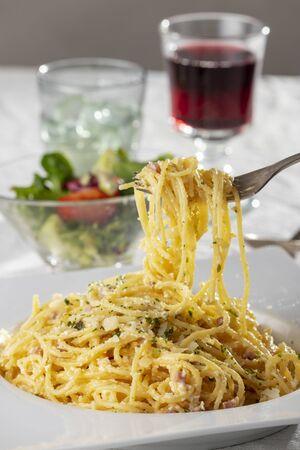 spaghetti carbonara on a plate Stock Photo