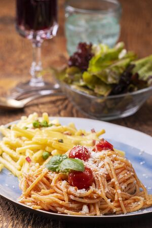 rigatoni emiliana and spaghetti with tomatoes