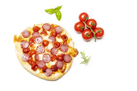 overview of a salami pizza
