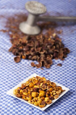 crushed hazelnuts with nutshells on a dish towel