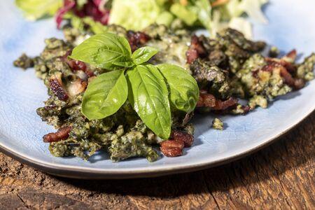 tyrolean spaetzle with ham and salad Banco de Imagens