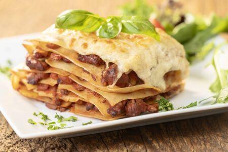 closeup of a portion of lasagna Фото со стока