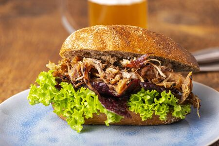 pulled pork in a bun with beer Фото со стока
