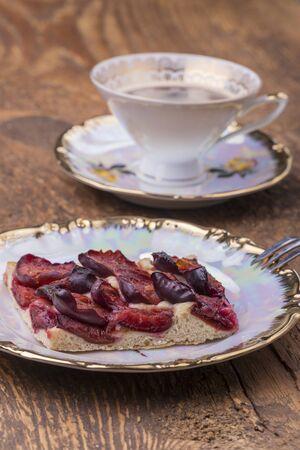 bavarian zwetschgendatschi, a local plum cake Фото со стока