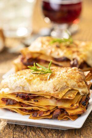 closeup of a portion of lasagna Stock Photo