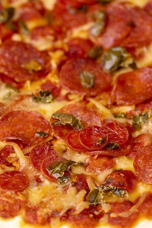 closeup of a salami pizza