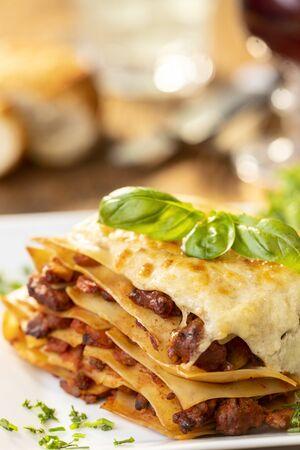 closeup of a portion of lasagna  Stok Fotoğraf