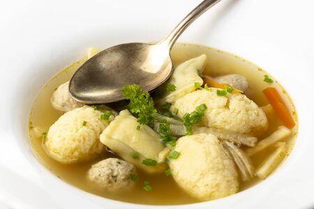 bavarian wedding soup in a plate Фото со стока