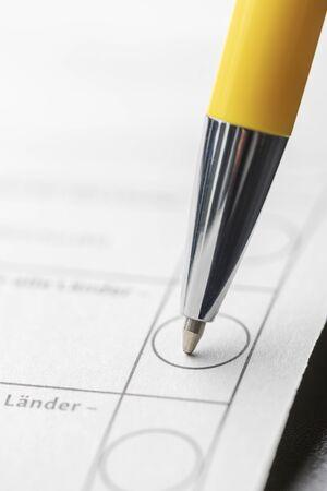 closeup of a pen on ballot paper Stock Photo