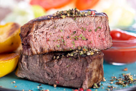 grilled steak on a plate Stock Photo