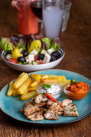 greek gyros with french fries