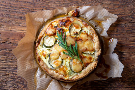 fresh french quiche on wood