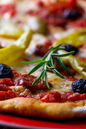 fresh pizza with rosemary