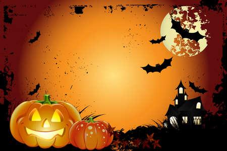 monsters house: Halloween Backgroud Illustration