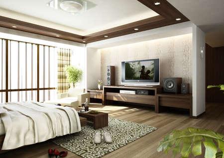 bedroom interior: modern bedroom interior (3D rendering) Stock Photo