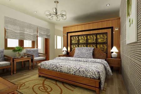 modern bedroom interior (3D rendering) Stock Photo - 8141081