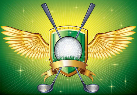 Golf shield theme over colorful striped background Vector