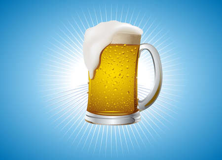 lager beer: mug with fresh gold beer on gold background Illustration