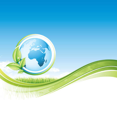 circundante: global ecology binary background with plant surrounding earth vector illustration Ilustra��o