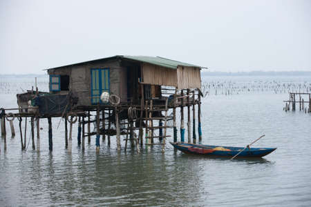 lang: Typical House on the sea Lang Co, Hue, Vietnam