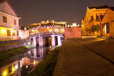 japanese bridge: Japanese Bridge in Hoi An at night, Vietnam  Stock Photo