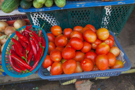 tamarillo: Tropical fruits for sale in a flea market in Hoi An, Vietnam
