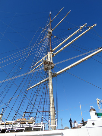 Mast of the ship against the sky
