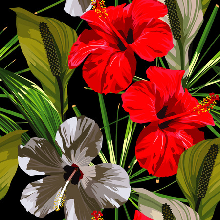 Red and white hibiscus flowers with green leaves on a black background.