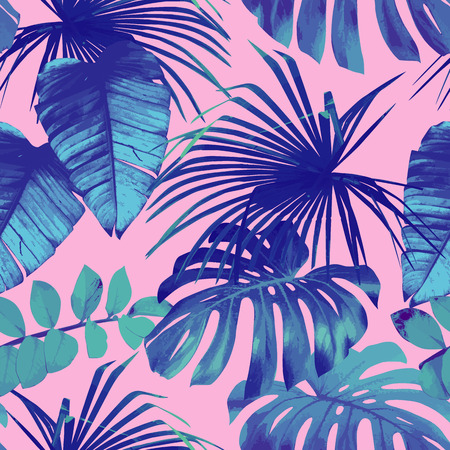 夏エキゾチックな花熱帯のヤシ、バナナの葉青のスタイルで。ピンク色の背景にシームレス パターン。植物の花の自然の壁紙