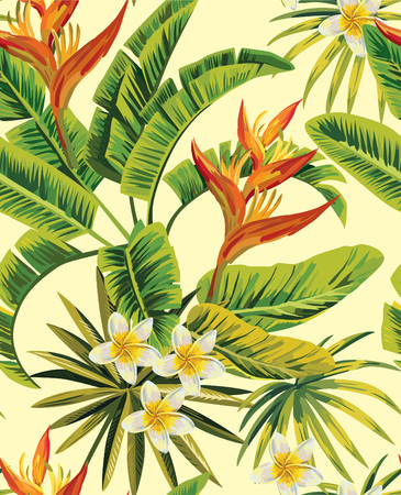 背景が黄色に椰子の緑の葉を持つ熱帯のエキゾチックなプルメリアの花。シームレス パターン。ファッション ビンテージ夏の壁紙