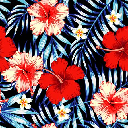 Red and pink hibiscus flower on a background of palm leaves and plumeria in a trendy blue style. Hawaiian tropical natural floral seamless pattern