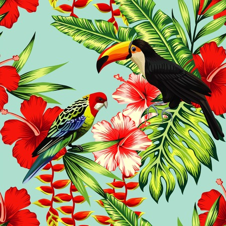Tropic bird toucan and multi color parrot on the background exotic flower hibiscus and palm leaf. Print summer floral plant. Nature animals wallpaper.