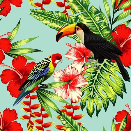 Tropic Vogel Tukan und mehrfarbige Papagei auf dem Hintergrund exotische Blume Hibiskus und Palmblatt. Drucken Sommerblumenpflanze. Natur Tiere Tapete.
