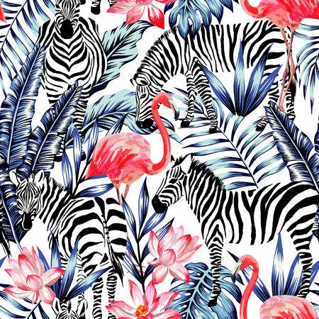 flamenco rosado exóticos, cebra en la hoja de palma trópico azul de fondo de verano. Acuarela floral wallpaper.Stripe impresión de pintura de la naturaleza de la moda